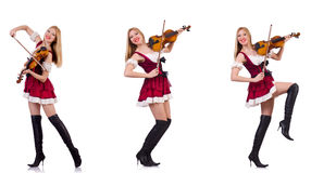The bavarian girl playing the violin isolated on white Royalty Free Stock Images