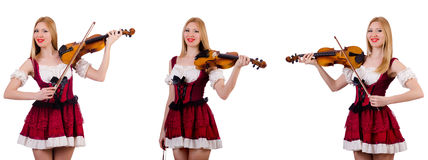 The bavarian girl playing the violin isolated on white Stock Photo