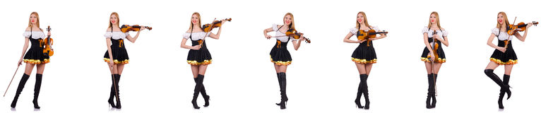 The bavarian girl playing the violin isolated on white Royalty Free Stock Image