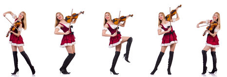 The bavarian girl playing the violin isolated on white Stock Images