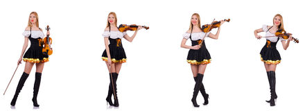 The bavarian girl playing the violin isolated on white Stock Image