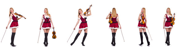 The bavarian girl playing the violin isolated on white Stock Photography