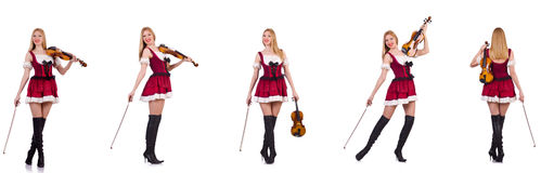 The bavarian girl playing the violin isolated on white Royalty Free Stock Photo