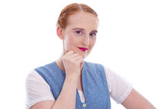 Bavarian girl with red hair in a dirndl Royalty Free Stock Images