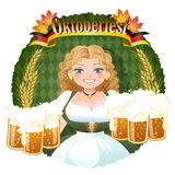Bavarian Girl serving beer -  October fest. Bavarian Girl serving beer, October fest image.File contains Gradients, Clipping mask, Blending Tool, Transparency Royalty Free Stock Photos