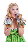 Bavarian Girl with teddy bears Stock Image