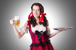 Bavarian girl with tray Stock Image
