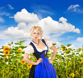 Bavarian girl in typical oktoberfest dress Royalty Free Stock Images