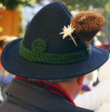 Bavarian Hat. A Bavarian felt hat with chamois hair and Edelweiss Royalty Free Stock Images