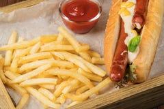 Bavarian hot dog closeup Stock Photos