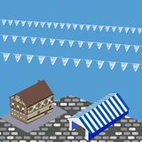 Bavarian house, tent and flags for Oktoberfest in vector illustration royalty free illustration