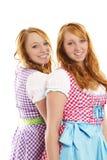 bavarian klädde flickor två Royaltyfri Fotografi