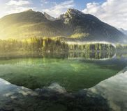 Bavarian lake with reflection stock photography