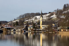 Bavarian lake Schliersee with with blue sky in winter Stock Image