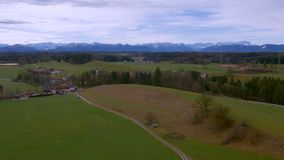 Bavarian Landcape, Germany. Flight over Beautiful Bavarian Landscape with Meadows, Forest, Pasture, Bavaria, Germany, Europe stock footage