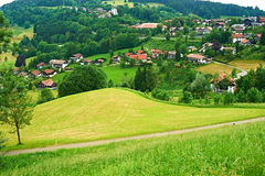 Bavarian landscape at Alps with village Royalty Free Stock Photography