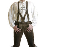 Bavarian Leather Trousers / Lederhose. Close-up of a man dressed in bavarian traditional leather trousers (lederhose) which is worn at the Oktoberfest in Munich Royalty Free Stock Image