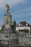 Bavarian Lion at the entrance of the Port of Lindau Royalty Free Stock Image