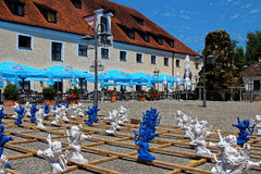 Bavarian lion sculptures in castle Seefeld courtyard Stock Images