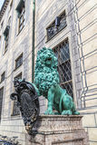 Bavarian lion statue in front of residence palace at odeonsplatz Stock Image