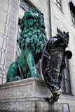 Bavarian lion statue at Munich Residenz palace Stock Images
