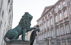Bavarian lion statue at odeonsplatz, munich Stock Photography