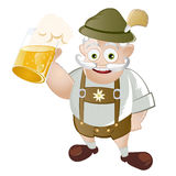 Bavarian man with beer. Illustration of old Bavarian man with traditional lederhosen and glass or stein of beer; isolated on white background Stock Images