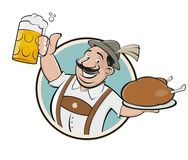Bavarian man with beer and chicken. Sign Stock Photo