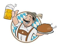 Bavarian man with beer and chicken sign. Clipart of a bavarian man with beer and chicken stock illustration