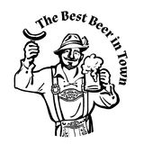 Bavarian man with beer mug and sausage leaning on barrel Hand drawn vector logo. Cheerful Bavarian man with beer mug and sausage leaning on barrel Hand drawn vector illustration