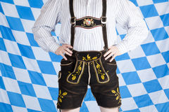 Bavarian man with black Oktoberfest lederhose Royalty Free Stock Image