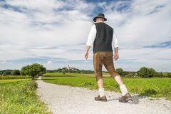 Bavarian man going to monastery Andechs Royalty Free Stock Images
