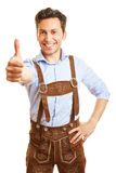 Bavarian man holding thumbs up Royalty Free Stock Image