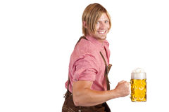 Bavarian man holds oktoberfest beer stein Royalty Free Stock Photos