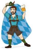 Bavarian Man with Lederhosen Clothes Celebrating Oktoberfest, Vector Illustration. Festive man celebrating Oktoberfest in traditional Bavarian lederhosen Stock Photography