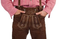 Bavarian man with oktoberfest leather trousers Royalty Free Stock Images