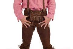 Bavarian man with oktoberfest leather trousers Stock Photo