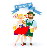 Bavarian man and woman with a big glass of beer Stock Photography
