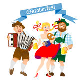 Bavarian men and woman with a big glass of beer Stock Image