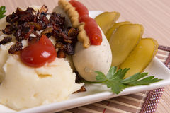 Bavarian or Munich sausage with mashed potatoes Stock Photo