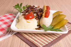 Bavarian or Munich sausage with mashed potatoes Stock Images
