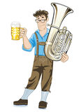 Bavarian musician with tuba Stock Images