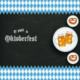 Bavarian National Colors Blackboard Centre Beer Pretzel Stock Photo
