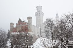 Bavarian Neuschwanstein Castle at snowy winter Royalty Free Stock Photos