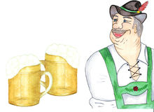 Bavarian no traje nacional oktoberfest ilustração stock