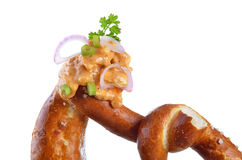 Bavarian obazda on pretzel Royalty Free Stock Images