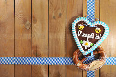 Bavarian Oktoberfest gingerbread heart Royalty Free Stock Photo