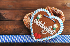 Bavarian Oktoberfest gingerbread heart Stock Image