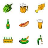Bavarian oktoberfest icons set, cartoon style Stock Image
