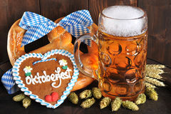Bavarian Oktoberfest soft pretzel with beer Stock Photography